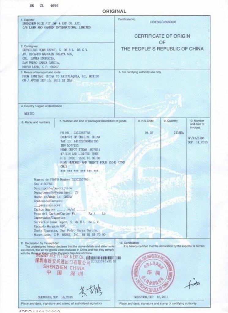 świadectwo pochodzenia dla towarów importowanych z Chin - dokumenty celne