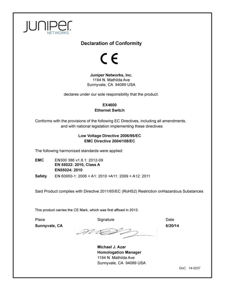 Przykładowy dokument − deklaracja zgodności dla urządzenia elektronicznego.